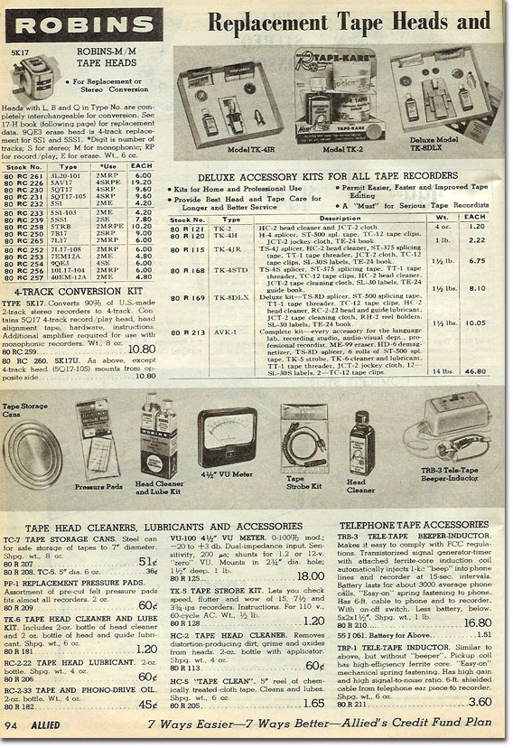 picture of tape recorderaccessories in the 1964 Allied Radio catalog