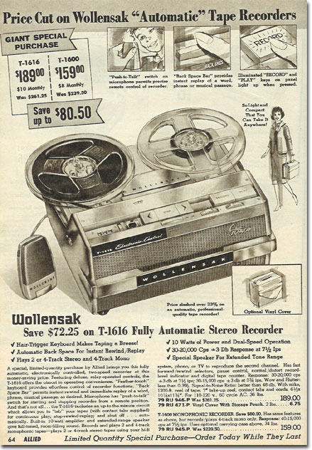 picture of reel to reel tape recorders in the 1964 Spring Allied Radio catalog