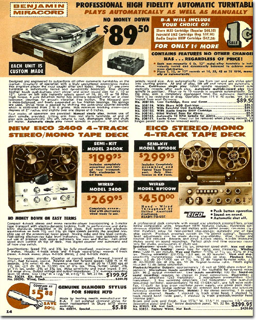 picture of reel tape recorders for sale in the 1964 Burstein Applebee Radio catalog