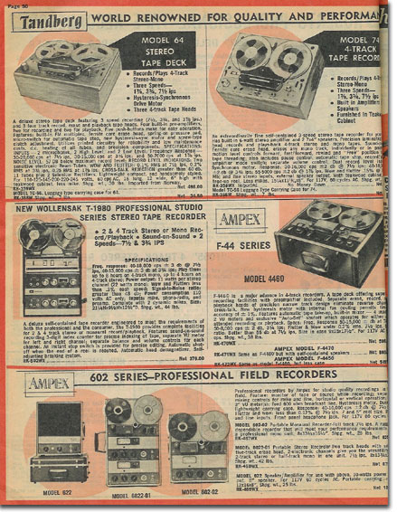 picture of recorders in the 1964 Lafayette Radio catalog