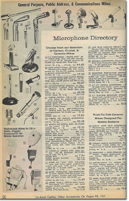 picture of microphones in the 1964 Radio Shack catalog
