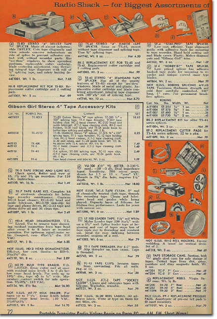 picture of tape recording assessories in the 1964 Radio Shack catalog
