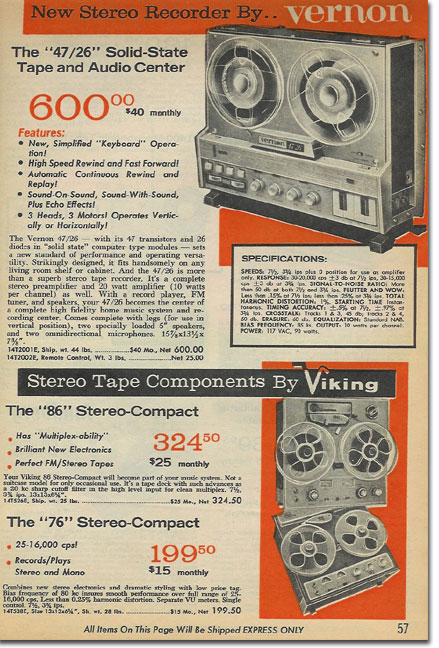 picture of tape recorders in the 1964 Radio Shack catalog