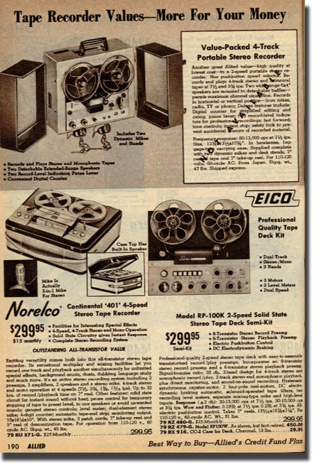 picture of tape recorders in the 1965 Allied Radio catalog
