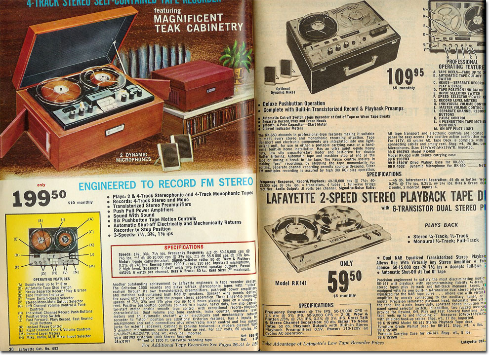picture of Lafayette reel tape recorders available in the 1965 catalogs