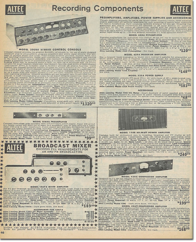 picture of Altec equipment in the 1965 McGee Radio catalog