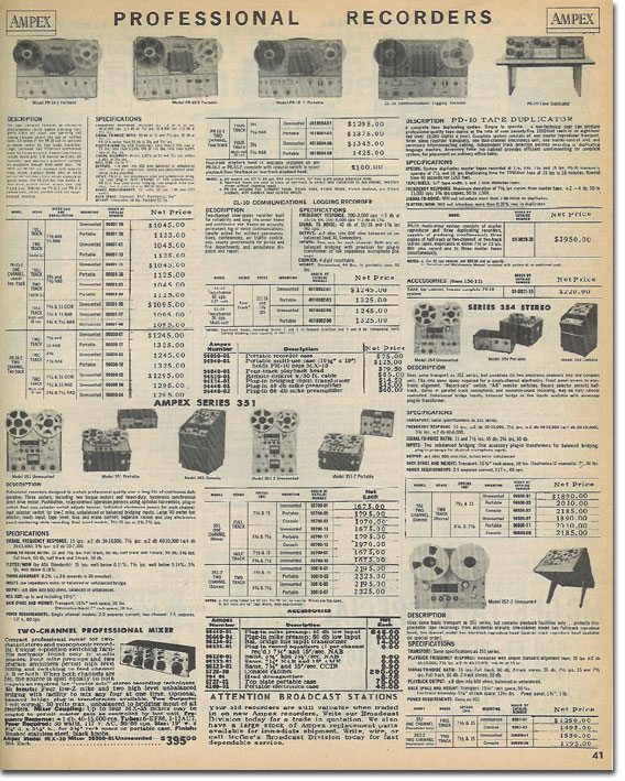 picture of Ampex recorders in the 1965 McGee Radio catalog