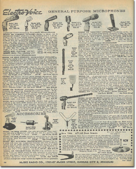 picture of Electro Voice microphones in the 1965 McGee Radio catalog