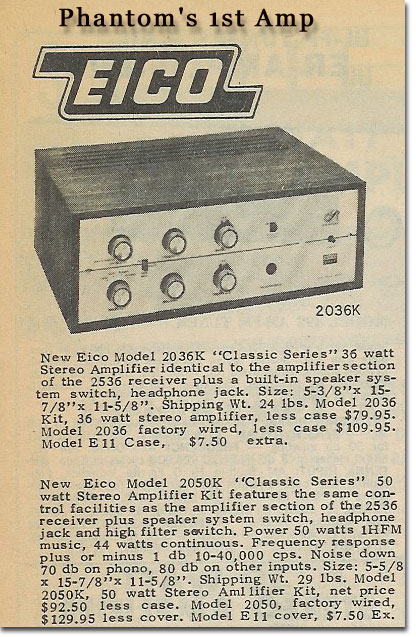 picture of the Eico 8020 in 1965 McGee catalog.  This was Phantom's first amp in'65.