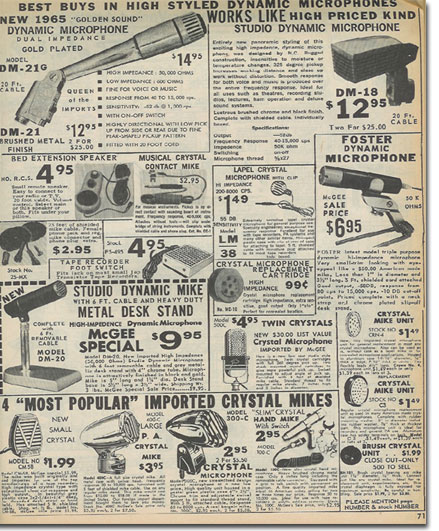 picture of generic microphones in the 1965 McGee Radio catalog