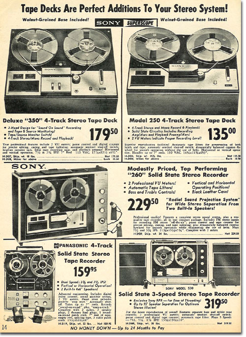 picture of tape recorders in the 1965 Radio Shack Holiday catalog