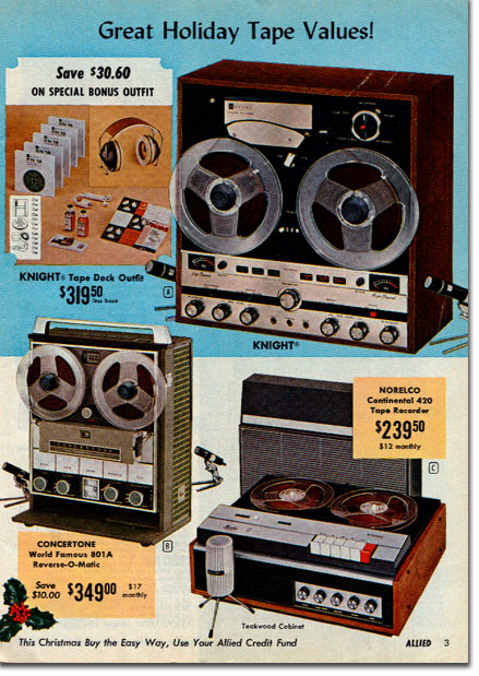 picture of recorders in 1966 Allied Radio Christmas Sale catalog