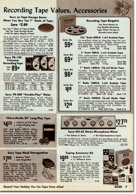 picture of recorder assessories in 1966 Allied Radio Christmas Sale catalog