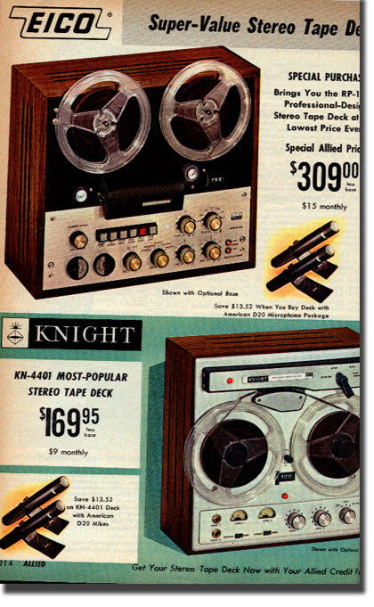 picture of tape recorders in1966 Allied Radio Industrial catalog