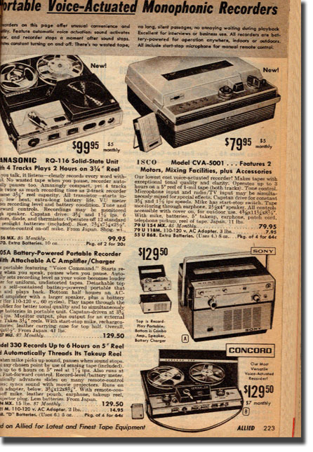 picture of tape recorders in1964 Allied Radio Industrial catalog