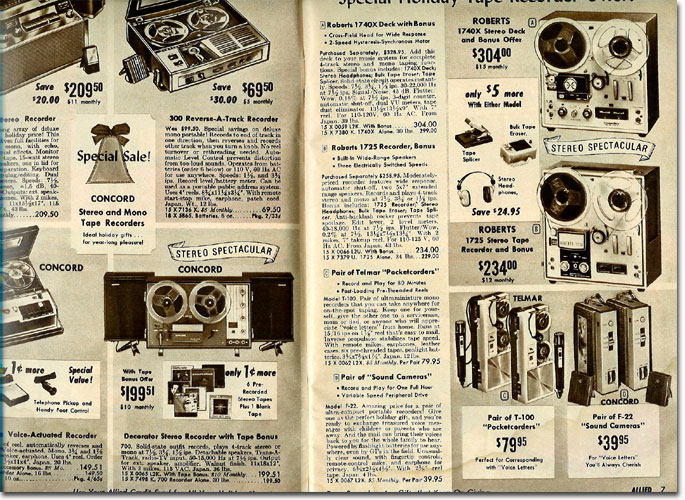 picture of tape recorders in the 1967 Allied radio catalog