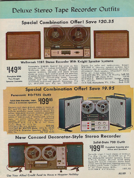 pictures of recorders in the 1966 Allied Christmas sale catalog