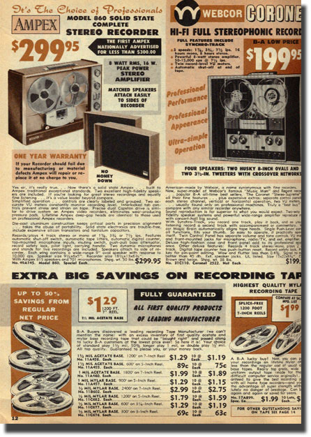 picture of tape recorders from the 1966 Burstein Applebee Catalog