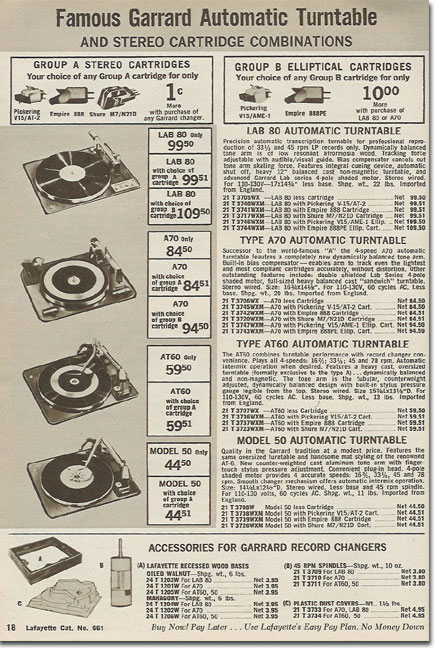 picture of Garrard turntables in the 1966 Lafayette Radio holiday catalog