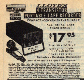 picture of catalog ad for Lloyd's minature tape recorder