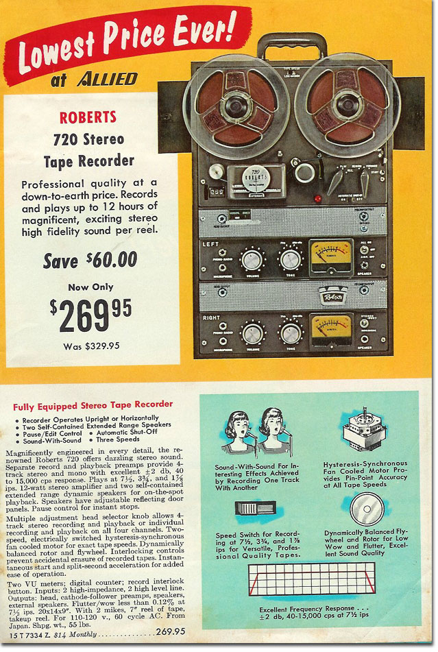 picture of Roberts 720 Tape Recorder in the 1967 Allied Winter catalog