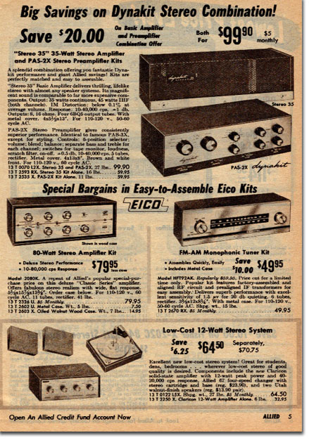 picture of Eico Amp kits in the 1967 Allied Radio Winter Sale catalog