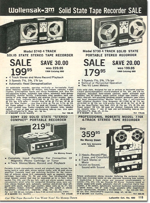 picture of reel to reel tape recorders in the 1967 Winter Lafayette Radio catalog