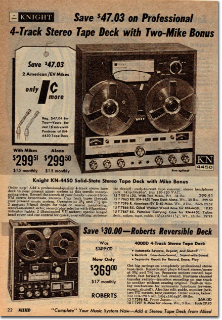 picture of recorders in the 1967 Allied Radio Winter Sale catalog