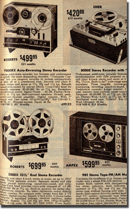 picture of tape recorders in the 1968 Allied Radio Catalog