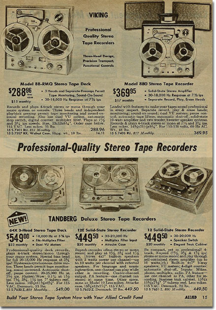 picture of reel tape recorders in the 1968 Allied Radio Spring catalog