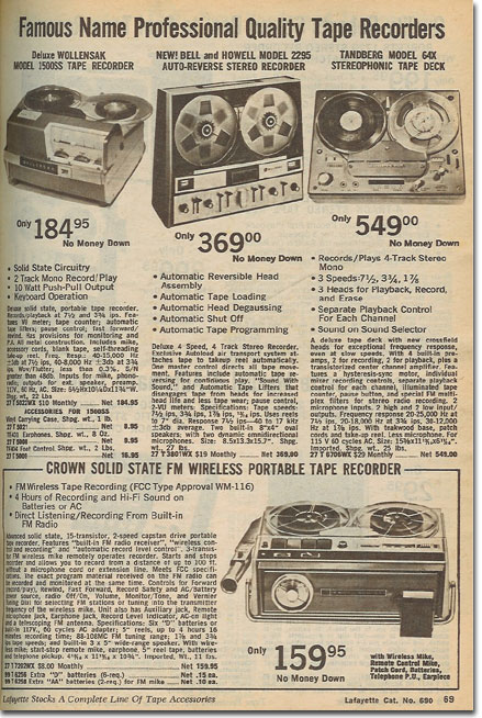 picture of tape recorders in the 1969 Lafayette Radio catalog