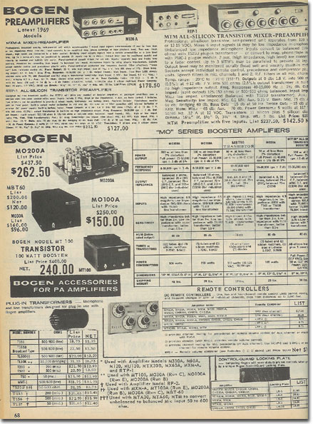 picture of Bogen recording equipment in the 1969 McGee Radio Catalog