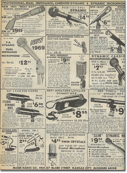 picture of generic microphones in the 1969 McGee Radio Catalog