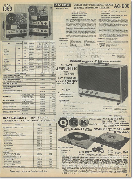 picture of Ampex recording equipment in the 1969 McGee Radio Catalog