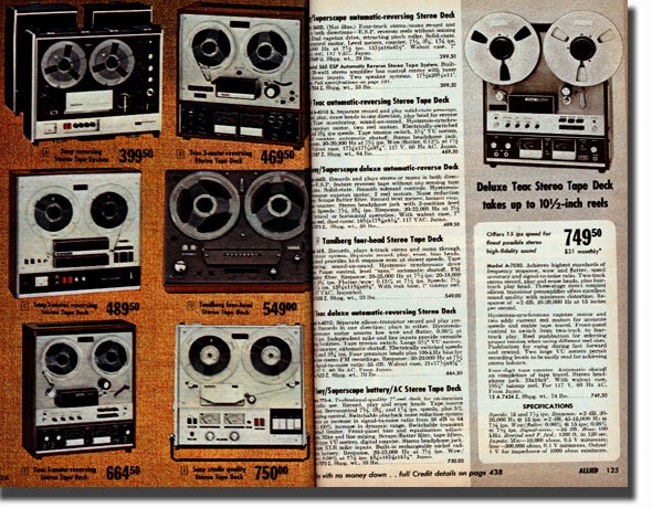 pictures of tape recorders from the 1970 Allied Radio catalog