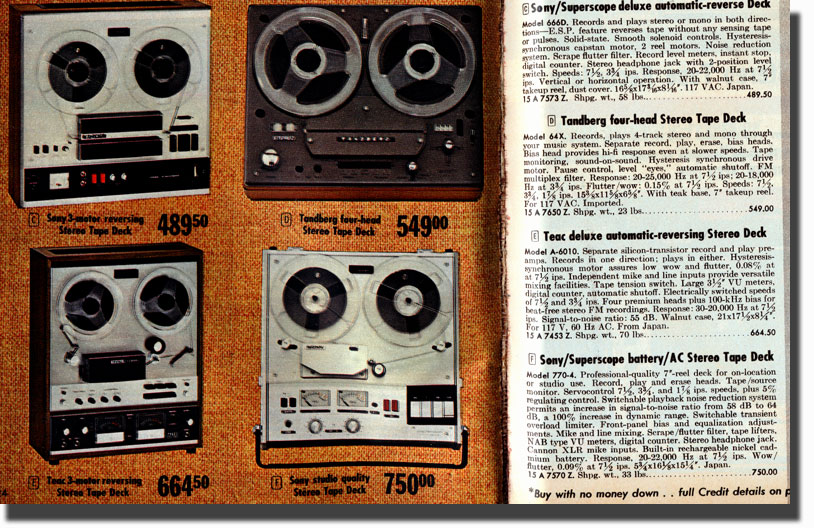 picture of Sony 772 and other top end tape recorders from the 1970 Allied Radio catalog