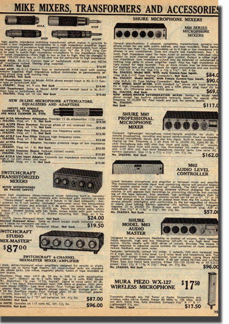 picture of recording mixer  items from the 1971 Burstein Applebee catalog