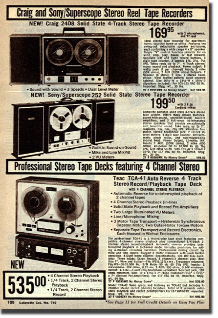 picture of page from 1971 Lafayette Radio catalog showing reel to reel recorders for sale