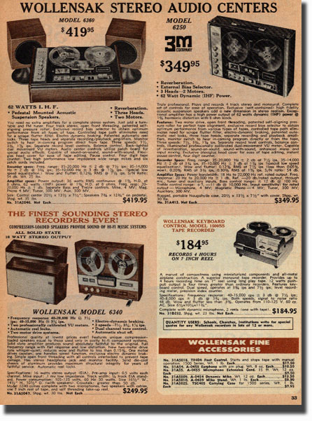 picture of recording items for sale in the 1972 Burstein Applebee radio catalog