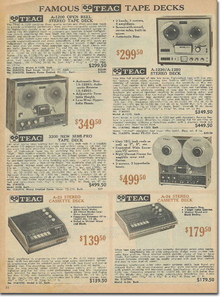 picture of tape recorders in the1972 Burstein Applebee Radio catalog