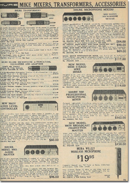 picture of Shure mixers in the1972 Burstein Applebee Radio catalog