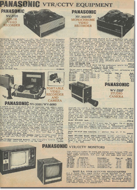 picture of video recorders in the1972 Burstein Applebee Radio catalog