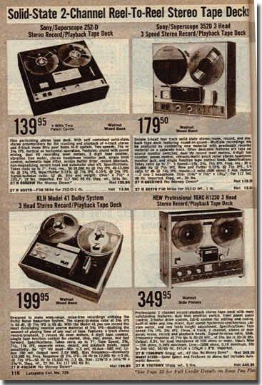 picture of items in the 1972 Lafayette Radio catalog