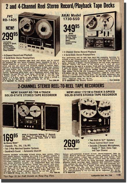 picture of tape recorders available in the 1973 Lafayette Radio catalog