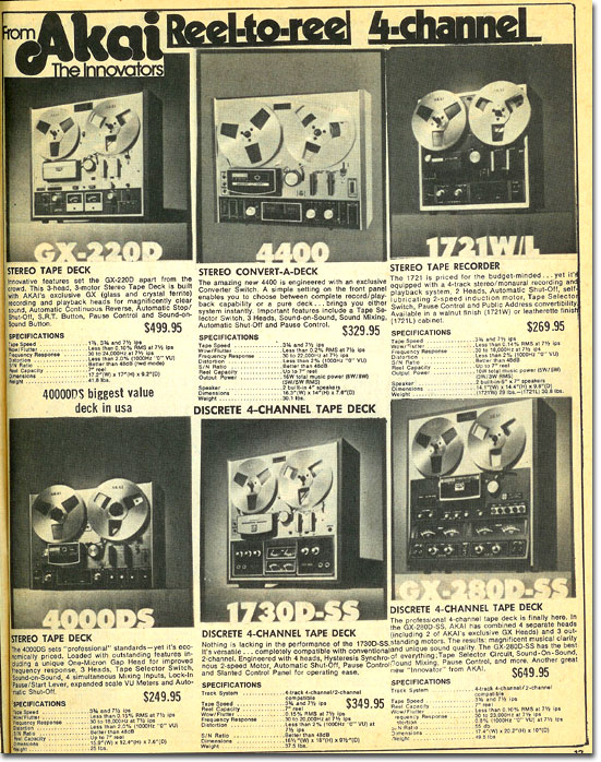 picture of Akai reel tape recorders available in the 1974 McGee Radio catalog