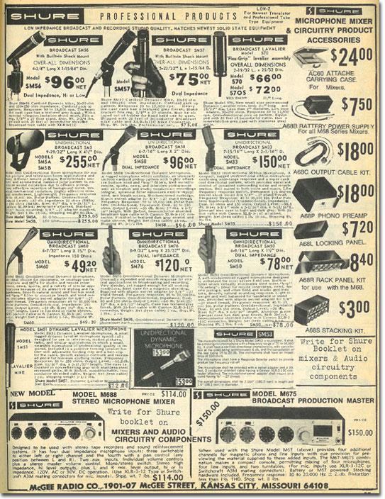 picture of Shure microphones available in the 1974 McGee Radio catalog