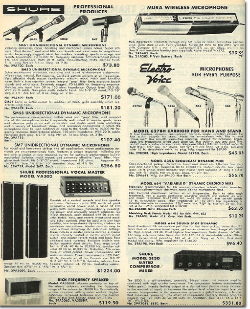 picture of microphones in the 1975 Burstein Applebee Radio catalog