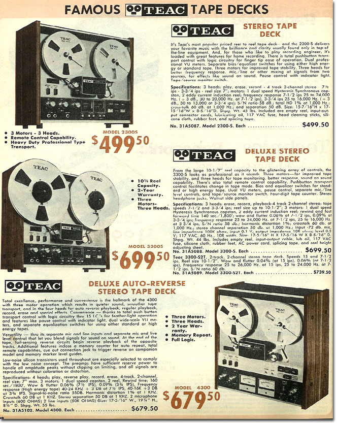 picture of Teac reel to reel tape recorders in the 1975 Burstein Applebee Radio catalog