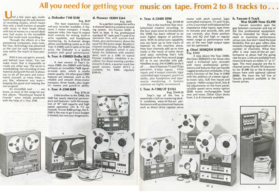 1975 pages from the Sound Warehouse professional audio catalog in Phantom Productions' vintage recording collection