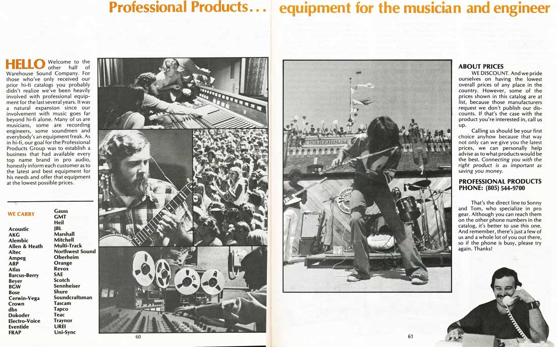 1975 pages from the Sound Warehouse professional audio catalog in Reel2ReelTexas.com's vintage recording collection